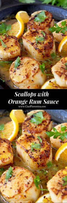 Pan Seared Scallops Recipe in Orange Rum Sauce | http://CiaoFlorentina.com @CiaoFlorentina