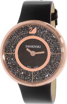 82decbdc324 Swarovski Women s Crystalline 5045371 Black Leather Swiss Quartz Watch