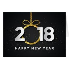 Happy New Year 2018 Black Gold Fireworks Card - black gifts unique cool diy customize personalize