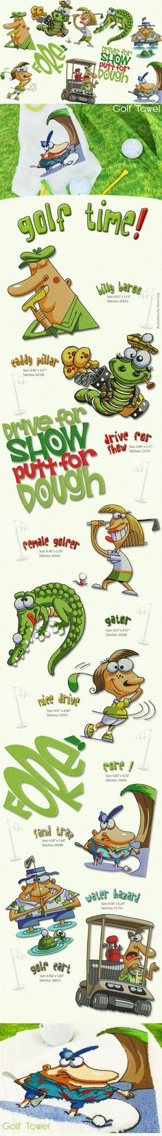 CoolDesigns from Steve Gray.Add them to golf bags, towels, shirts and much more.....  Golf is a game in which you claim the privileges of age, and retain the playthings of childhood. Thread and Bobbins Available here!