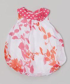 Look at this #zulilyfind! Baby Essentials Pink & White Vine Bubble Bodysuit by Baby Essentials #zulilyfinds