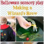 Halloween Sensory Play - Mixing a Wizard's Brew