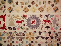 Seen on Barbara Brackman's blog, Quilt 1812; War Piecing: Unconfined Applique -- I love this style of applique done with patterned fabrics.
