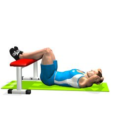 CRUNCH LEGS ON FLAT BENCH INVOLVED MUSCLES DURING THE TRAINING ABDOMINALS