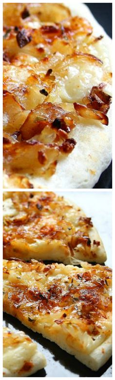 White Onion Garlic Pizza ~ simplest and the best pizza ever