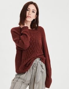 2cf0c1a970459 AE Chunky Cable Knit Pullover Sweater