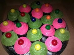 Amber's 11th Bowling birthday cup cakes