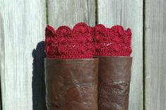Boot Cuffs in Scarlet Red Crochet Boot Toppers Boot Socks from CandacesCloset on Etsy. Saved to MY COLLEGE NEEEEEDS. #red #bootcuffs #winter #crochet #warm.