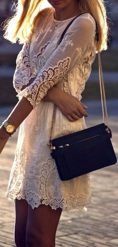 3/4 Sleeves White Crochet Dress
