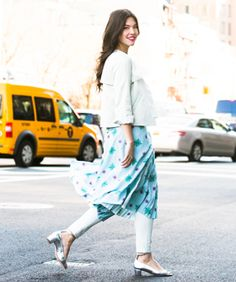 Fashion Challenge: How To Style Skirts Over Pants #refinery29  http://www.refinery29.com/skirt-over-pants