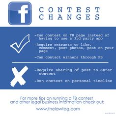 Facebook Contest Changes For #photography businesses  http://www.thelawtog.com/facebook-contest-changes-what-they-mean-to-you-as-a-photographer/