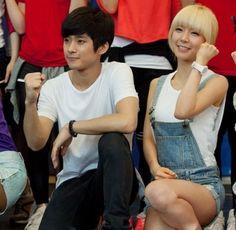 F.T. Island's Jaejin and AoA's ChoA on the set of 'High School Musical'   allkpop