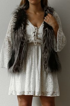 Faux Fur Material Girl Vest/American Eagle White Lace Dress | TheBreakofDawns