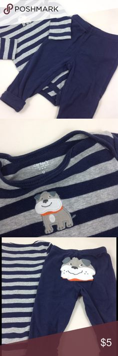 Carters two piece set Gray and navy long sleeve onesie with cute bulldog appliqué on front, with navy pant that has friendly bulldog on seat. 9 mos Carter's Matching Sets