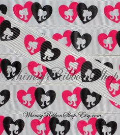 3 Yards 7/8 Black Shocking Pink silhouette by WhimsyRibbonShop, $4.50