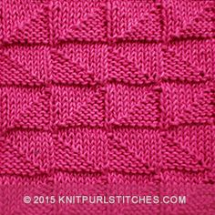 Beautiful pattern with lots of texture. The Alternating Broken Check stitch would be great for baby blankets, scarves, and hats! Baby Knitting Patterns, Knitted Washcloth Patterns, Knitted Washcloths, Knit Dishcloth, Knitting Designs, Stitch Patterns, Loom Knitting Stitches, Arm Knitting, Knitted Squares Pattern