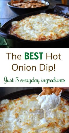 The BEST Hot Onion Dip - Just 5 everyday ingredients. The BEST Hot Onion Dip - Just 5 everyday ingredients. You won& be able to stop eating this dip! Yummy Appetizers, Appetizer Recipes, Baked Dip Recipes, Appetizer Dips, Party Appetizers, Easy Dip Recipes, Yummy Recipes, Cheese Dip Recipes, Milk Recipes
