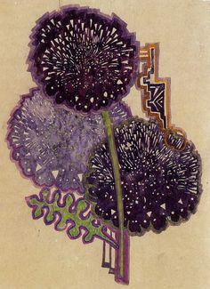 peinture aquarelle UK : Charles Rennie MacKintosh (écossais), dahlias, fleurs, violet