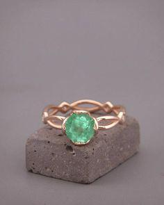14K Rose Gold Emerald Engagement Ring   14k rose gold Natural