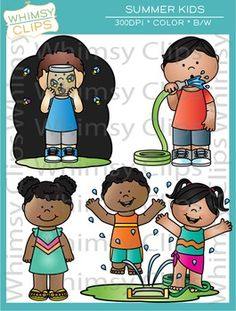 The summer kids clip art set contains 24 image files, which includes 12 color images and 12 black & white images in png and jpg. This is a fun summer clip art set that features illustrations of kids catching lightning bugs, drinking from a water hose and more. All images are 300dpi for better scaling and printing. $