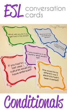 ESL Conversation Cards Conditionals $ packet contains 40 pages with cards. Motivate and engage students to speak and start discussion on various speaking topics! All the cards are designed to practice Conditionals with Pre-Intermediate to Advanced students. These conditionals grammar activities will definitely be popular among your students! Enjoy. | CrazyCharizma
