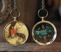 Little Red Ridinghood Compass Necklace, Compass Necklace, Fairytale Jewelry, Little Red Riding Hood, Gift Idea, Fairy-tale, Wolf, Green, Red