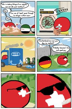"""Wiggly mouse-drawn comics where balls represent different countries. They poke fun at national stereotypes and the """"international drama"""" of their. Funny Cartoons, Funny Comics, Dankest Memes, Funny Memes, The Awkward Yeti, Snow Fun, Rhyme And Reason, Short Comics, History Memes"""