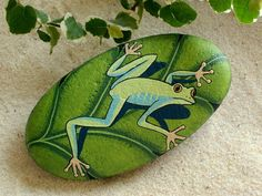 Robin egg blue & green frog on chartreuse leaf, gift for gardener Mom, napkin weight, patio decor, painted rock by RockArtiste on Etsy, $25.00