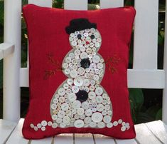Snowman Pillow, Red Holiday Pillow, Snowman Button Pillow, Christmas Pillow, Snowman Decor, Winter Decoration. This bright smiley Snowman stands proudly in his Furry Black Hat on a bright Red Burlap background. Each Snowman has been created from Vintage buttons, many of them