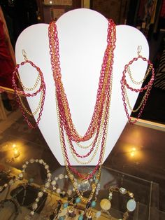 49er Faithfuls!! Get your awesome Chained Necklace & Earrings Statement Set made out of your colors Red/Gold to set it off for the SuperBowl!! #localartist #swaggeraccessories $45.00