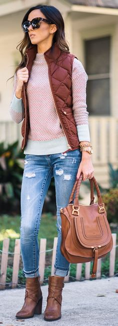 Blank Denim Distressed Denim Skinny Jeans | Caslon Funnel Neck Sweater | J.Crew Excursion Quilted Down Vest | Vince Camuto 'Gravell' Belted Bootie