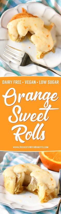 These easy five ingredient Orange Sweet Rolls are so soft, sweet, and fluffy, you'd never know they're low fat, dairy free and vegan with no sugar added! Vegan Sweets, Vegan Desserts, Dessert Recipes, Vegan Foods, Vegan Snacks, Vegan Meals, Dairy Free Recipes, Vegan Recipes, Copycat Recipes