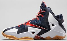 The latest colorway of the Nike LeBron XI features Obsidian uppers framed by the white Hyperposite panels and University Red Swoosh. Description from nikelebron.net. I searched for this on bing.com/images