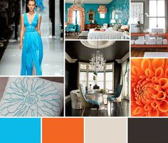 Turquoise Color Palette | Turquoise and Orange Interior Design Color Palettes