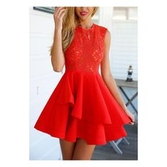SheIn(sheinside) With Zipper Lace Insert Flare Red Underskirt Drop... ($20) ❤ liked on Polyvore featuring dresses, short dresses, outfits, robes, red, red cocktail dress, skater dress, red dress, red party dresses and red summer dress