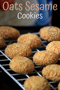 First Timer Cook: Eggless Oats Sesame Cookies Eggless Cookie Recipes, Healthy Cookie Recipes, Fun Baking Recipes, Healthy Cookies, Vegan Snacks, Dessert Recipes, Cooking Recipes, Desserts, Sesame Cookies