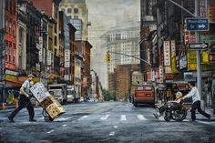 """NEW YORK By Socrates Rizquez 2019 - Enamels on aluminium painting. 150 x 100 cm. Thanks to my eyes in NYC Nico Geerlings. Original Paintings, Original Art, Realism Art, Photorealism, Enamel Paint, Impressionism, Buy Art, Saatchi Art, New York"