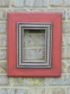 5x7 Red with a Grey rope trim. Distressed and Glazed