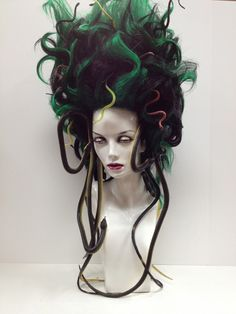 """Medusa Wig. Halloween.""  Holy crap.  This is awesome!   Find mannequin heads at MannequinMadness.com to display your halloween wigs"
