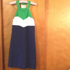 Trina Turk dress size 6 Navy, white and green Trina Turk dress made in the USA. underarm to underarm 15 1/2 inches. Shoulder to bottom of dress 34 3/4 inches. The dress is fully lined and there is a back zipper Trina Turk Dresses