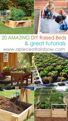 20 most amazing raised bed gardens, from simple wood raised beds to many creative variations. Great tutorials and inspirations! - A Piece Of Rainbow
