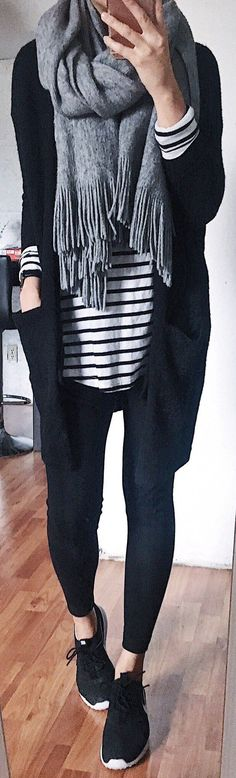Grey Fringe Scarf / Black Cardigan /black Leggings / Black Sneakers / Striped Tee Source