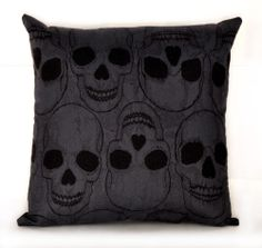 dark grey SKULLS DECORATIVE PILLOW Yorick horror punk psychobilly goth decor