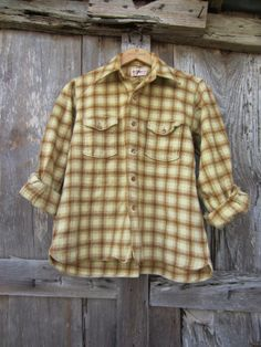 40s/50s Plaid Virgin Wool Shirt, XS-S Danish Style, Yellow Cream, Almost Always, Utility Jacket, Plaid, Wool, Sleeves, How To Wear, Jackets