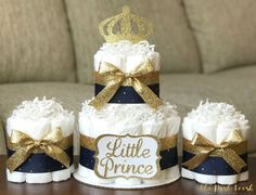 Prince Diaper Cake Little Prince Navy Gold Royal by ThePoshToosh