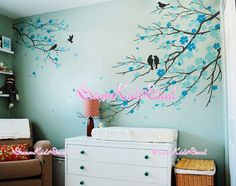 Nursery Wall Decal Wall Sticker Kids Decal - Blossoms Tree decal SIZE: The large tree branch measures wide by high The Nursery Wall Decals, Wall Decal Sticker, Blossom Trees, Blossoms, Art Mural, Murals, Tree Decals, Branch Decor, Palmiers