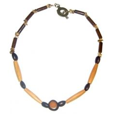 Men's Dark Brown, Light Brown and Beige Necklace by AngieShel Designs, LLC at www.angiesheldesigns.com