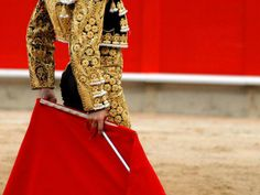 Bull-fight is a tradional sport of Spain,  in this game,  people hold a red garment and fight with a bull.  The motifs in clothes of gamer is so wonderful and elegant.  I love the short coat and high waist pant