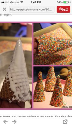 cool way to make the top of a castle - royal icing and sprinkles on a sugar cone