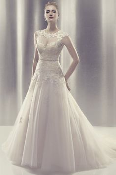 Ball Gown High Neck Bow Tie Chapel Train Tulle,lace Natural Waist Wedding Dress